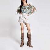 River Island Womens Cream faux leather tab waist shorts