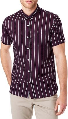7 Diamonds Touch of Life Slim Fit Stripe Short Sleeve Button-Down Shirt