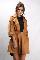 Rare Camel Faux Suede Belted Mac Coat