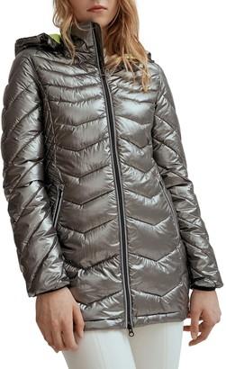 NOIZE Lightweight Pearlized Metallic Puffer Jacket - Claire