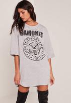 Missguided Grey Ramones T-Shirt Dress