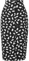 Off-White Printed Cotton-poplin Midi Skirt - Black