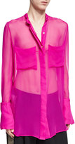 ADAM by Adam Lippes Oversized Sheer Silk Blouse, Fuchsia