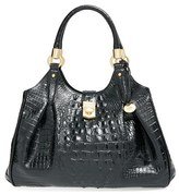Brahmin 'Elisa' Croc Embossed Leather Shoulder Bag - Black