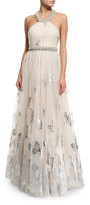 Badgley Mischka Halter Beaded Butterfly Tulle Gown, Blush