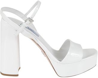Prada Vernice Block Heel Sandals