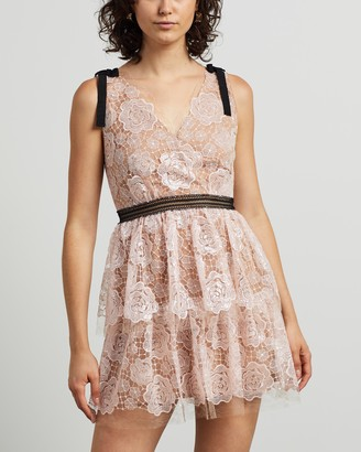 Self-Portrait Starlet Mini Rose Lace Dress