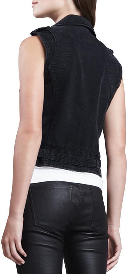 Current/Elliott Sleeveless Denim Moto Vest