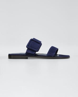 Manolo Blahnik Tituba Suede Strap Flat Sandals