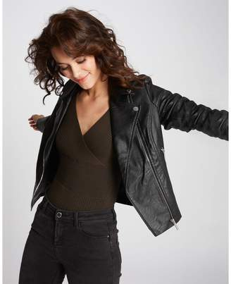 Morgan Short Faux Leather Biker Jacket with Pockets