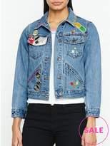 Marc Jacobs Shrunken Denim Jacket With Embroidery- Blue