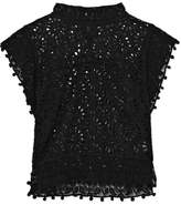 Isabel Marant Kery Broderie Anglaise Cotton And Lace Top - Black