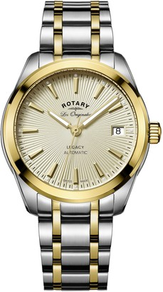 Rotary Women's Automatic Watch with Yellow Dial Analogue Display and Two Tone Stainless Steel Bracelet LB90166/03