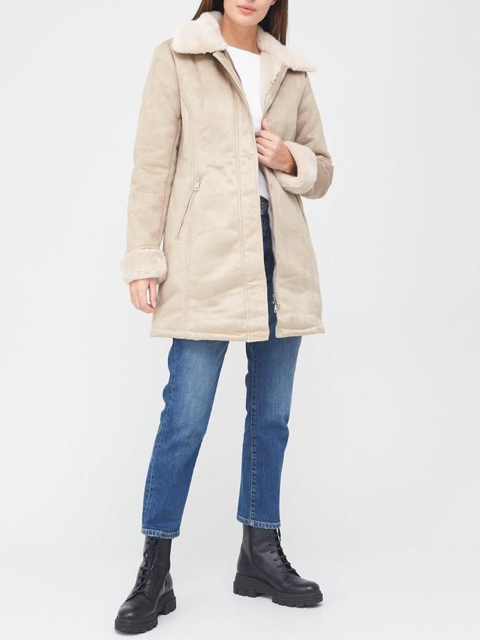 Thumbnail for your product : Lauren Ralph Lauren Faux Shearling Lamb Coat - Camel