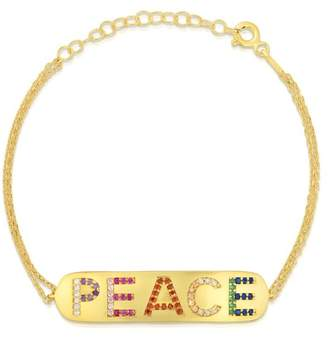Sphera Milano 14K Yellow Gold Plated Sterling Silver Pave Rainbow CZ 'PEACE' ID Tag Bracelet