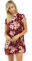West Coast Wardrobe Camilla High Neck Mini Dress in Wine