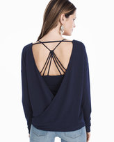 White House Black Market Long-Sleeve Drape Back Top