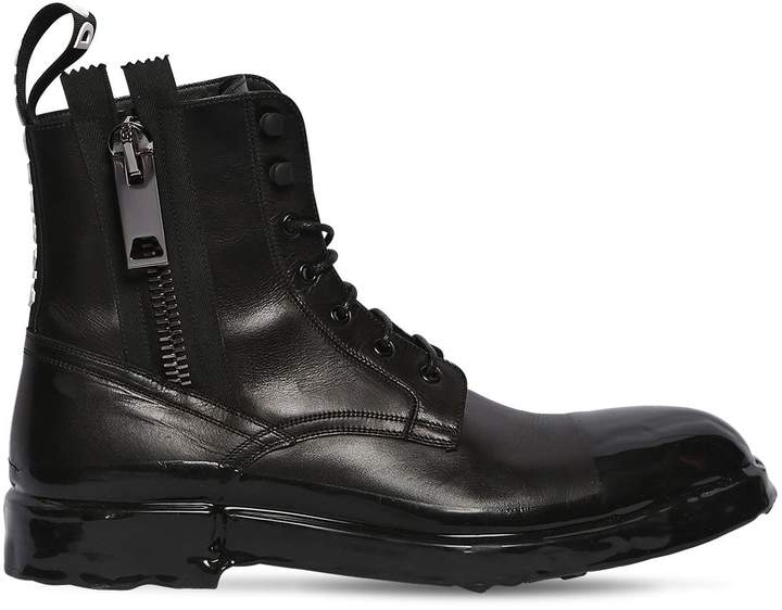 Dolce & Gabbana Firenze Leather Lace-Up Boots