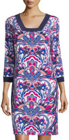 Laundry by Shelli Segal Printed 3/4-Sleeve Square-Neck Dress, Vivid Pink
