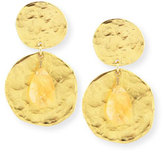 Kenneth Jay Lane Golden Coin and Glass Citrine Earrings