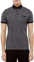 Ted Baker Herringbone Print Regular Fit Polo Shirt