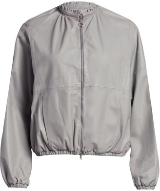 Fabiana Filippi Leather Frill Bomber Jacket