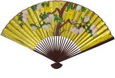 Oriental Furniture Asian Art, Decor and Gifts, 35-Inch Japanese Yellow Painted Decorative Wall Fan with Birds, Golden No.4