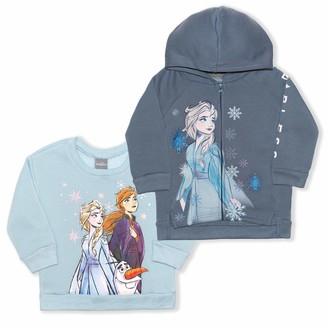 Disney Frozen Girl's 2-Piece Zip Up Hoodie and Crewneck Sweatshirt Set