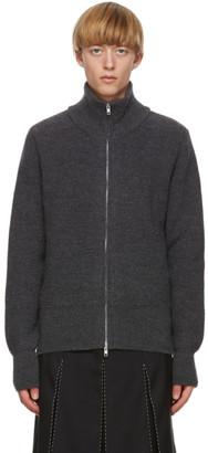 Maison Margiela Grey Gauge Half-Cardigan Zip-Up Sweater