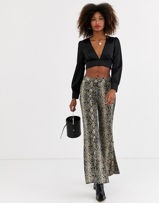 AX Paris snake print flared pants