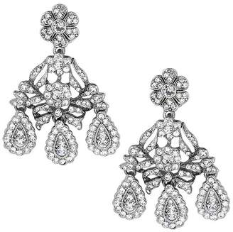 Kenneth Jay Lane Antique Silver And Crystal Drop Clip Earrings