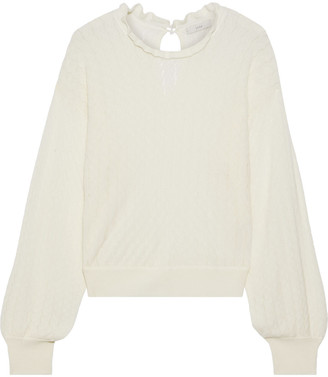 Joie Hadar Ruffle-trimmed Pointelle-knit Wool-blend Sweater