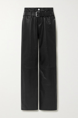 RtA Dexter Belted Leather Straight-leg Pants - Black