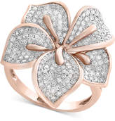 Effy Pavé Rose by Diamond Flower Ring (7/8 ct. t.w.) in 14k Rose Gold