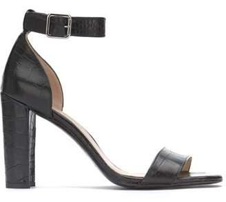 Mint Velvet Lucy Black Croc Heeled Sandals
