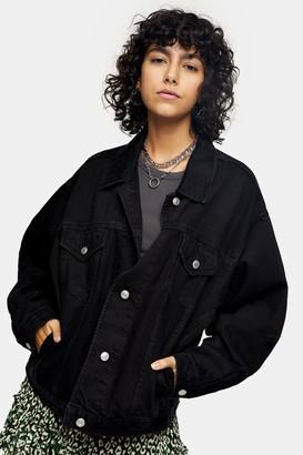 Topshop Womens Washed Black Oversized Denim Jacket - Black