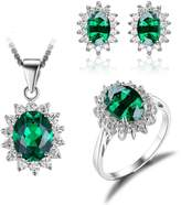 JewelryPalace Princess Diana William Kate Middleton's 6.1ct Simulated Russian Nano Emerald Jewelry Sets Engagement 925 Sterling Silver Ring Pendant Necklace Stud Earrings Size 7