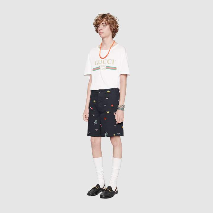 Gucci Embroidered cotton short