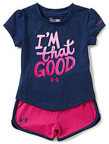 Under Armour Baby Girls 12-24 Months I m That Good Short-Sleeve Tee & Shorts Set