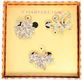 Charter Club Set of 3 Clear Rhinestone Brooch Pins in Gift Box