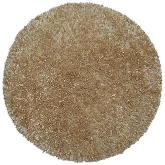 St. Croix Shimmer Shag Round Rug, Beige, 2'x2'