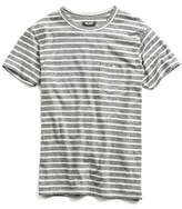 Todd Snyder Wide Stripe Button Pocket T-Shirt in Grey Heather
