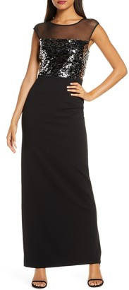 Vince Camuto Sequin & Mesh Bodice Column Gown