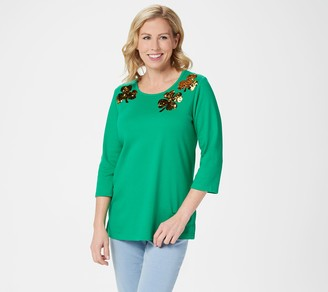 Factory Quacker Reversible Sequin Motif Knit Top