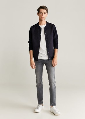 MANGO MAN - Faux-suede bomber jacket dark navy - L - Men