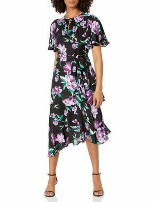 Tahari ASL Women's Ruched Keyhole Asymmetrical Dress