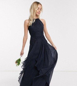 ASOS DESIGN Petite Bridesmaid pinny maxi dress with ruched bodice and layered skirt detail
