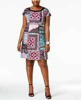 NY Collection Plus Size Printed Cap-Sleeve Dress