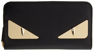 Fendi Black and Gold Bag Bugs Continental Wallet