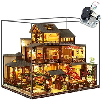 HEYANG 3D Wooden Assembled Dollhouse Kit DIY Miniature Japanese Style Courtyard Scene Building Furnished Puzzle Creative Gift (Yaquanting)